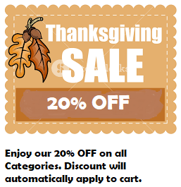 Thanksgiving Sale! 20% OFF Entire Store!